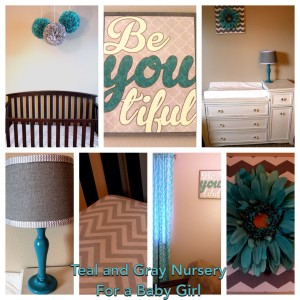 Teal and gray baby girl nursery
