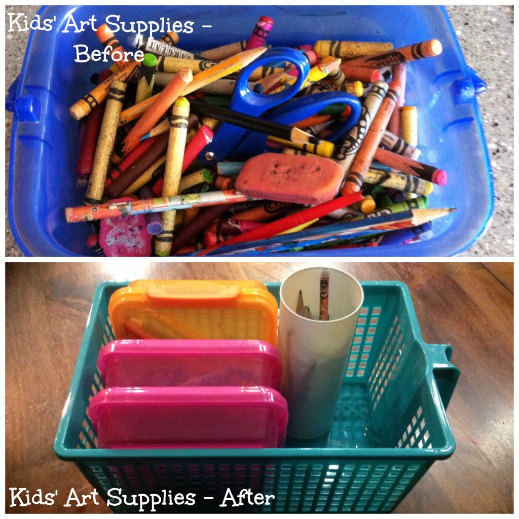 From a bucket of mess to organization!  A $3 Target container to hold everything and dollar store sandwich boxes for crayons, colored pencils, and erasers/scissors.