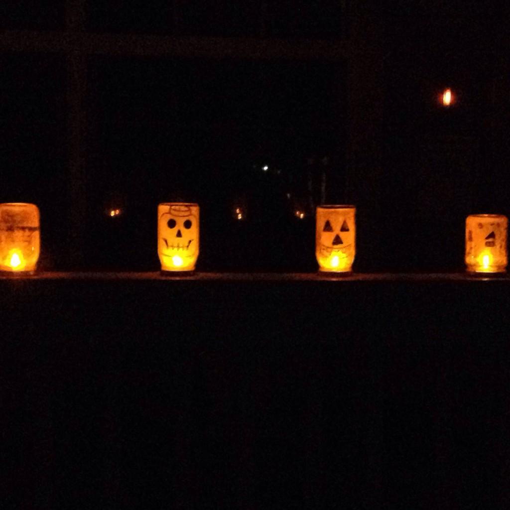 Glittery Jack-o-lantern jars