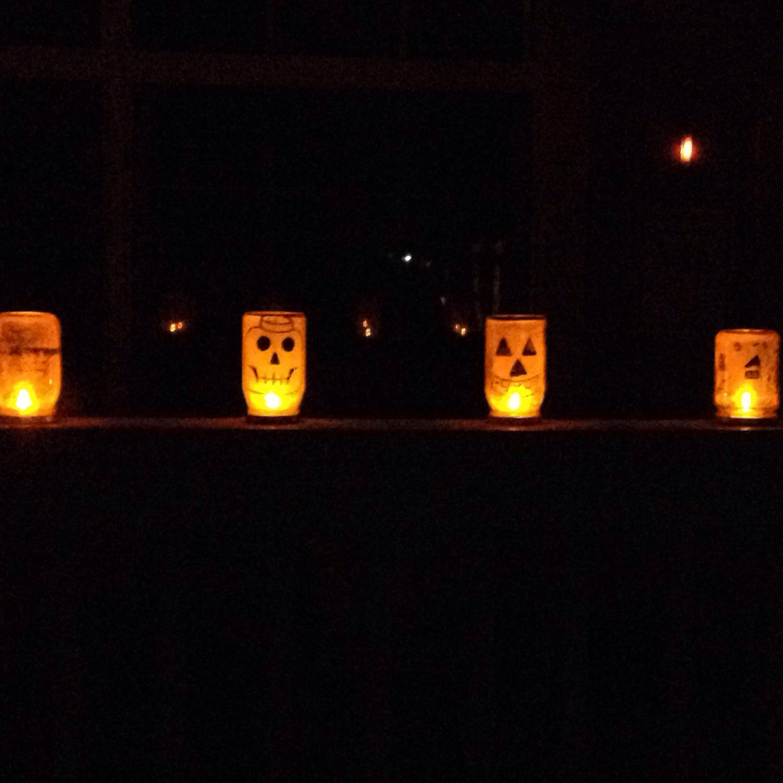 Glittering Jack-o-lantern Jars