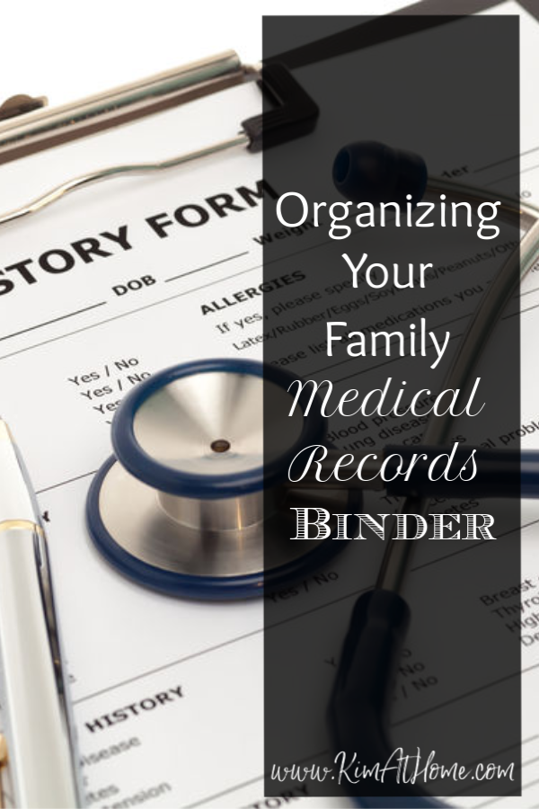 Family Medical records binder