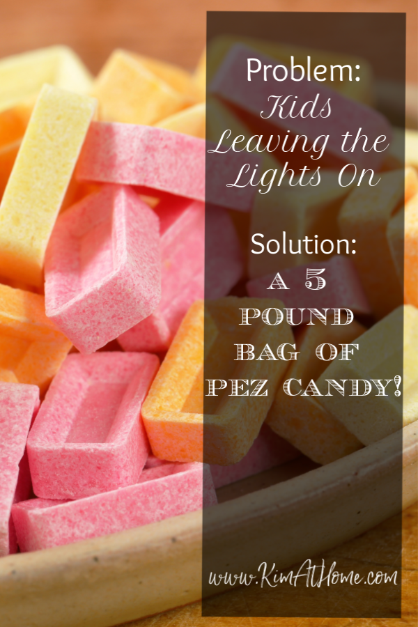 Pez candy with text: Problem - kids leaving the lights on Solution - a 5 pound bag of pez candy